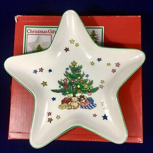Vintage Nikko Christmas Star-Shaped Treat Dish - Made Japan - New in Box!
