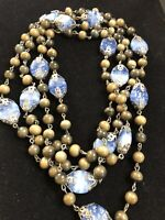 "60"" Long Vintage GLASS BEAD NECKLACE Burnished Silver Tone #193"