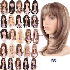 Hot Long Hair Full Wig Straight Curly Wavy Cosplay Party Wigs Brown Blonde #ZA