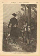 Children, Priest, Spitz Dog, Smoking Tobacco, Vintage 1873 German Antique Print