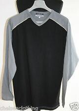 NEW GALERIES LAFAYETTE T-Shirt Long-Sleeve V-Neck LRG Black/Grey 100% Cotton Top