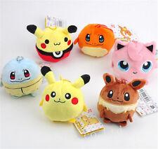 6PCS/Set Pokemon Pikachu Squirtle Jigglypuff Plush Toy Baby Doll Statue
