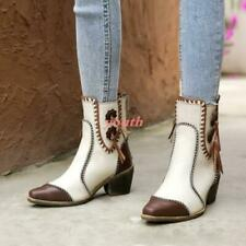 Womens Block Heels Real Leather Cowhide Ethnic Western Boots Cowboy Ankle Boots