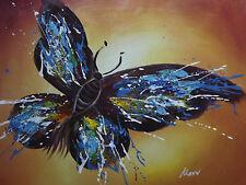 Grande Peinture Huile sur Toile Papillon Couleur Abstrait Original Crème Brun..