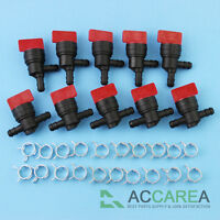 """10 X 1/4"""" InLine Straight & 90 Degree Gas Fuel Cut off Shut Off Valve W / Clamps"""