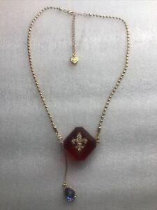 Betsey Johnson Red Lucite Block Fleur De Lis Necklace Nwot Rare