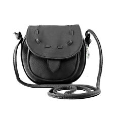 Mini Bolsa de viaje de hombro Cuero de la PU de Lazo de señoras Negro E6A1
