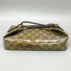 GUCCI Vintage GG Pattern PVC Canvas Vanity Bag Pouch Purse Brown Beige