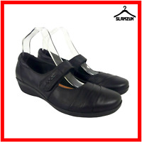 Clarks Womens Loafers Sandal Black Leather UK 5 / 38 Wide Fit Round Touch Close