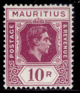 MAURITIUS GVI SG263, 10r reddish purple, M MINT. Cat £80. CHALKY