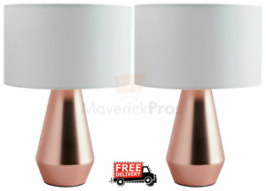 2 x Rose Gold Touch Lamps for Home Bedroom Bedside, Free Fast Shipping