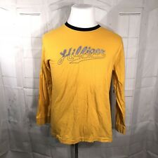 Vtg 90s TOMMY HILFIGER Yellow SPELLOUT Men's Long Sleeve Logo T-Shirt - Large