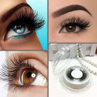 2 Pairs Handmade Magnetic fiber Natural False3D Eyelashes Reusable Long&Thick