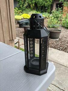 Lantern for tealight, indoor/outdoor, black