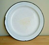 "Old Vintage White & Black Trim Enamel Plate Enamelware 10"" Dish"