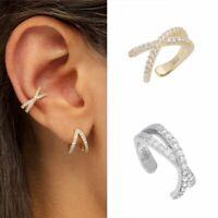 Echt 925 Sterlng Silber Damen Kreuz Ohrringe nicht durchbohrt Micro Zirkonia Neu