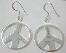 """REAL 925 sterling silver BIG ROUND Plain """"PEACE SIGN"""" Hook Earrings - GIRL WOMEN"""