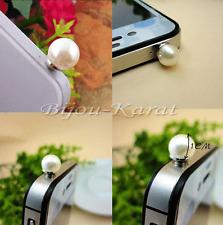 Creme Perlen ANTI DUST PLUG Handyschmuck Handy Staubschutz Perle  Stöpsel Silber