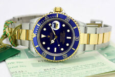Rolex Submariner Watch, Gold & Steel, Blue Face, 16613 1996 Mint!
