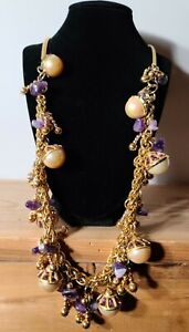 Chanel Authentic Amethyst & Pearl Necklace Gorgeous Costume Jewelry Necklace