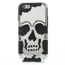 iPhone 6 iPhone 6S Cool Skull Pattern + Silicone Hybrid Back Cover Case - Silver