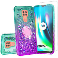 Cover for Moto G9 Play / Moto E7 Plus Case Hybrid Liquid Glitter Diamond Bling