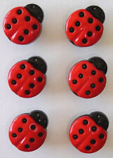 Six 15mm Ladybird Buttons - Perfect for Your Child and Baby Makes!