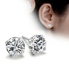 1Pair 925 Sterling Silver Crystal Ear Stud Earrings Women Lady Fashion