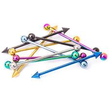 "10 Industrial Piercing Barbells - Anodized Titanium Piercing Bars - 14G 1.5"""
