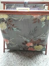 Vintage Wood Frame Folding Knitting Yarn Caddy Standing Tote Bag
