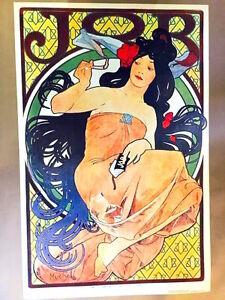 JOB Vintage Art Poster by ALPHONSE MUCHA IMP. F. Champenois Paris  1970 P-4