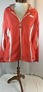 Fila Sport Womens Large Orange/White Light Weight Full Zip Hooded Jacket