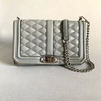 Rebecca Minkoff Love Quilted Gray Leather Crossbody Bag