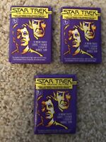 3 Sealed Wax Packs of Star Trek Trading Cards (Topps, 1979) EX Condition.