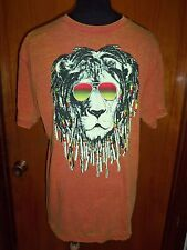 Chemistry Men's Orange Lion Dreadlocks Acid Wash Tee T Shirt Reggae L New NWT