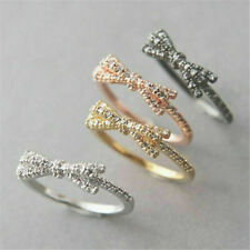 Bow-knot Engagement Newly 925 Silver Women Wedding Ring Party Gift Size 6-10