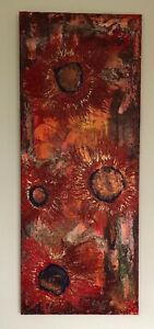 "Malerei Abstrakt Acryl Orginal ""Blumen in Rot""  100x40  Leinwand Kunst Modern"