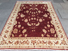 Traditional Hand Made Rugs Afghan Zigler Oriental Wool Burgundy Carpet 232x184cm