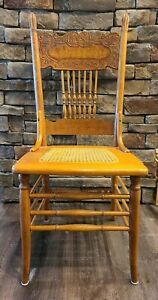 Antique Oak Pressed-Back Carved Cane Dining Kitchen Chair | All Original | Nice