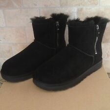 UGG Classic Mini Double Zip Black Suede Sheepskin Boots Size US 9 Womens NEW