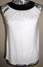EXPRESS white sleeveless pullover top w/ black neckline w/ sequins, Size XS