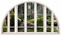 Huge 3D Arched Window Enchanted Forest View Wall Stickers Mural Art Decal 60