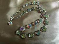 VINTAGE Flat Beads Aurora Borealis Graduated One Strand Necklace #3