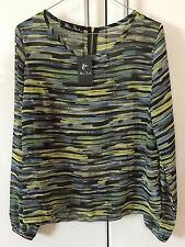 MISS FINCH Top Sheer Greens Black Stripe New With Tag Size M Long Sleeves