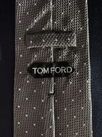 New Tom Ford Mens Necktie Tie Champagne Gray White Polka Dots 3.75 X 59.5