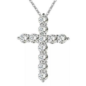 Silver Plated Crystal Diamante Cross Necklace Uk