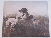 "Vintage John Le Roi Sheffer Hunting Dogs Signed Wall Art Print 1974 25"" x 19"""