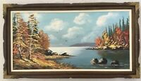 Large Beautiful Vintage Painting Oil on Canvas Framed~Signed D Raymond~Peisage