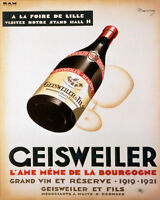 POSTER GEISWEILER 1921 FRENCH WINE BOTTLE GOBLET GLASS VINTAGE REPRO FREE S/H