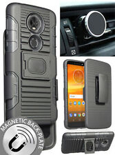 Black Case + Belt Clip Holster + Magnet Car Mount for Motorola Moto E5